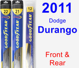 Front & Rear Wiper Blade Pack for 2011 Dodge Durango - Hybrid