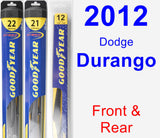 Front & Rear Wiper Blade Pack for 2012 Dodge Durango - Hybrid