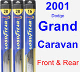 Front & Rear Wiper Blade Pack for 2001 Dodge Grand Caravan - Hybrid