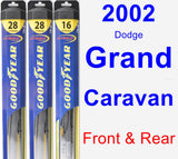 Front & Rear Wiper Blade Pack for 2002 Dodge Grand Caravan - Hybrid