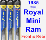 Front & Rear Wiper Blade Pack for 1985 Dodge Royal Mini Ram - Hybrid