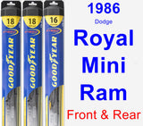 Front & Rear Wiper Blade Pack for 1986 Dodge Royal Mini Ram - Hybrid