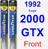 Front Wiper Blade Pack for 1992 Eagle 2000 GTX - Hybrid