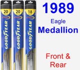 Front & Rear Wiper Blade Pack for 1989 Eagle Medallion - Hybrid