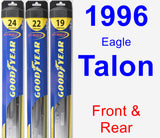 Front & Rear Wiper Blade Pack for 1996 Eagle Talon - Hybrid