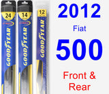 Front & Rear Wiper Blade Pack for 2012 Fiat 500 - Hybrid