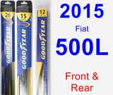 Front & Rear Wiper Blade Pack for 2015 Fiat 500L - Hybrid