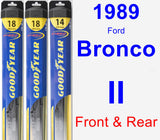 Front & Rear Wiper Blade Pack for 1989 Ford Bronco II - Hybrid