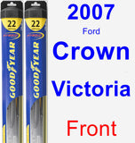 Front Wiper Blade Pack for 2007 Ford Crown Victoria - Hybrid