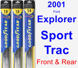 Front & Rear Wiper Blade Pack for 2001 Ford Explorer Sport Trac - Hybrid