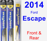 Front & Rear Wiper Blade Pack for 2014 Ford Escape - Hybrid