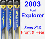 Front & Rear Wiper Blade Pack for 2003 Ford Explorer - Hybrid