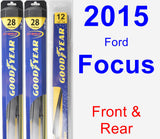 Front & Rear Wiper Blade Pack for 2015 Ford Focus - Hybrid