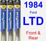 Front & Rear Wiper Blade Pack for 1984 Ford LTD - Hybrid