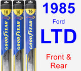 Front & Rear Wiper Blade Pack for 1985 Ford LTD - Hybrid