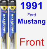 Front Wiper Blade Pack for 1991 Ford Mustang - Hybrid