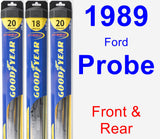 Front & Rear Wiper Blade Pack for 1989 Ford Probe - Hybrid