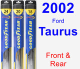 Front & Rear Wiper Blade Pack for 2002 Ford Taurus - Hybrid