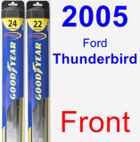 Front Wiper Blade Pack for 2005 Ford Thunderbird - Hybrid