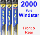 Front & Rear Wiper Blade Pack for 2000 Ford Windstar - Hybrid