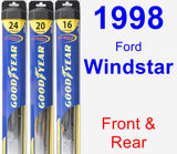 Front & Rear Wiper Blade Pack for 1998 Ford Windstar - Hybrid