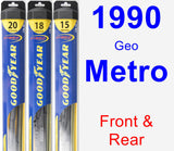Front & Rear Wiper Blade Pack for 1990 Geo Metro - Hybrid