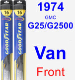 Front Wiper Blade Pack for 1974 GMC G25/G2500 Van - Hybrid