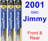 Front & Rear Wiper Blade Pack for 2001 GMC Jimmy - Hybrid