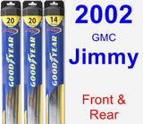 Front & Rear Wiper Blade Pack for 2002 GMC Jimmy - Hybrid