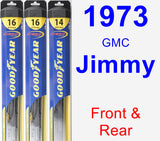 Front & Rear Wiper Blade Pack for 1973 GMC Jimmy - Hybrid
