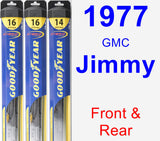 Front & Rear Wiper Blade Pack for 1977 GMC Jimmy - Hybrid