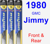Front & Rear Wiper Blade Pack for 1980 GMC Jimmy - Hybrid
