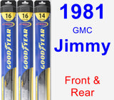 Front & Rear Wiper Blade Pack for 1981 GMC Jimmy - Hybrid