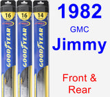 Front & Rear Wiper Blade Pack for 1982 GMC Jimmy - Hybrid
