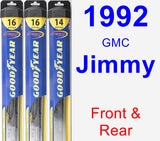 Front & Rear Wiper Blade Pack for 1992 GMC Jimmy - Hybrid