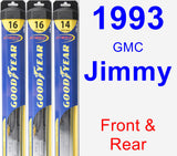 Front & Rear Wiper Blade Pack for 1993 GMC Jimmy - Hybrid