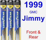 Front & Rear Wiper Blade Pack for 1999 GMC Jimmy - Hybrid