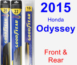Front & Rear Wiper Blade Pack for 2015 Honda Odyssey - Hybrid