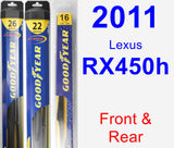 Front & Rear Wiper Blade Pack for 2011 Lexus RX450h - Hybrid