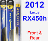 Front & Rear Wiper Blade Pack for 2012 Lexus RX450h - Hybrid