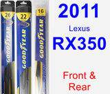 Front & Rear Wiper Blade Pack for 2011 Lexus RX350 - Hybrid