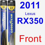 Front Wiper Blade Pack for 2011 Lexus RX350 - Hybrid