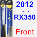 Front Wiper Blade Pack for 2012 Lexus RX350 - Hybrid
