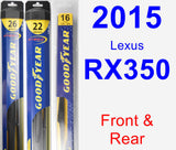 Front & Rear Wiper Blade Pack for 2015 Lexus RX350 - Hybrid