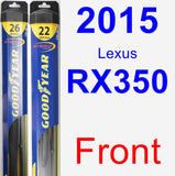 Front Wiper Blade Pack for 2015 Lexus RX350 - Hybrid