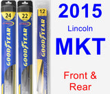 Front & Rear Wiper Blade Pack for 2015 Lincoln MKT - Hybrid