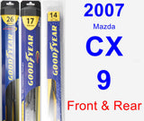 Front & Rear Wiper Blade Pack for 2007 Mazda CX-9 - Hybrid