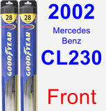 Front Wiper Blade Pack for 2002 Mercedes-Benz CL230 - Hybrid