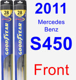Front Wiper Blade Pack for 2011 Mercedes-Benz S450 - Hybrid