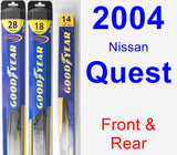 Front & Rear Wiper Blade Pack for 2004 Nissan Quest - Hybrid